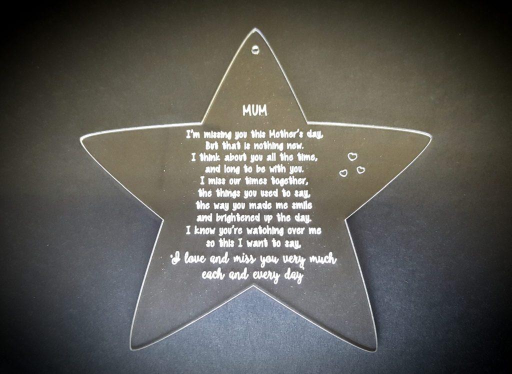 Missing You On Mothers Day Bespoke Lasercutz Ltd